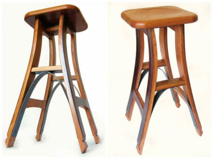 Eiffel, Barstool With Recycled Oak Wine Barrel