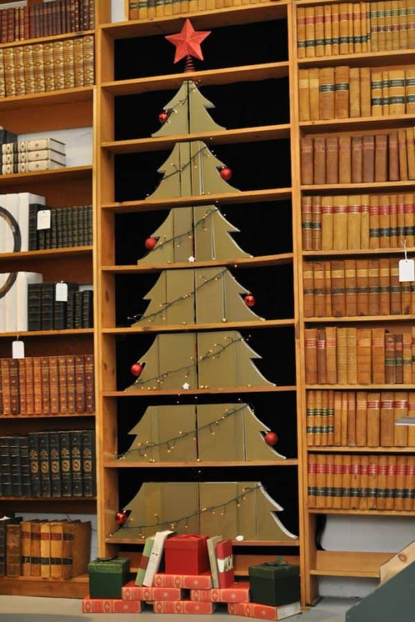 Christmas Tree Made of Useless Law Books Recycling Paper & Books