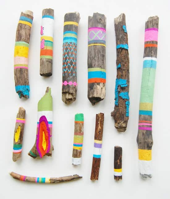 Painted Wooden Sticks Recycled Art Wood & Organic