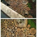 Sliced Wood Into a Beautiful Garden Wood Path