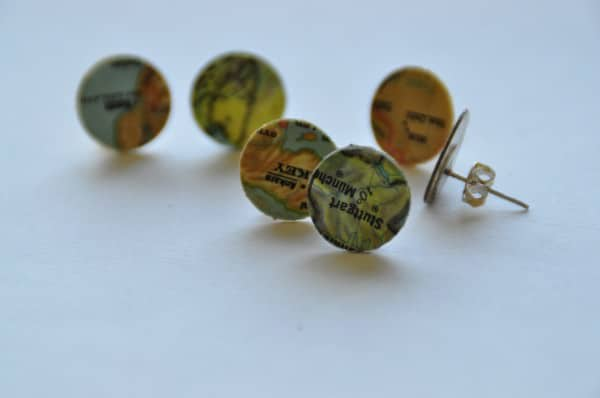 Map Earrings Accessories Recycling Paper & Books Upcycled Jewelry Ideas