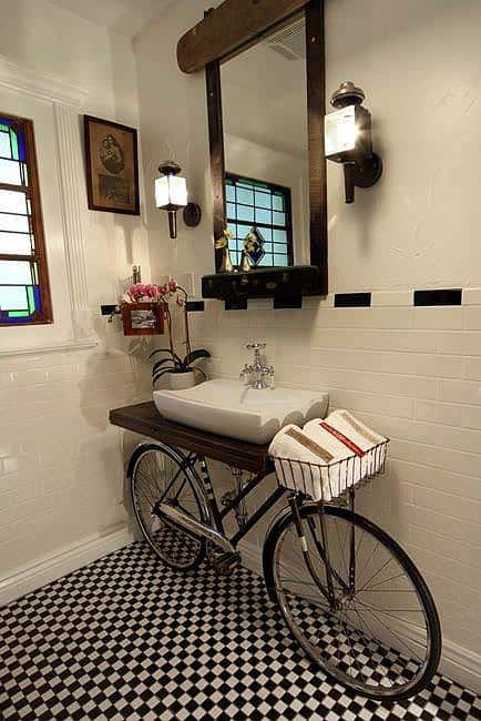 Bike in the Bathroom Upcycled Bicycle Parts