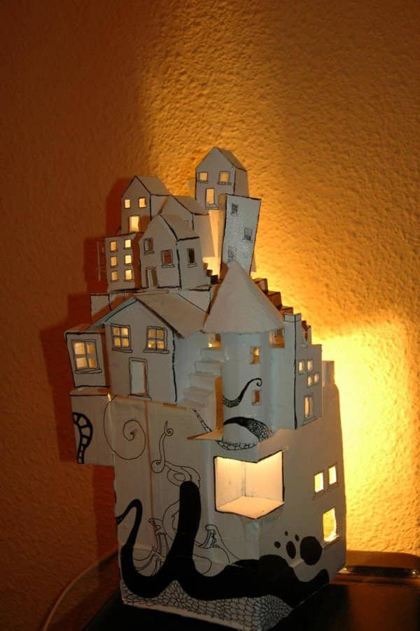Cardboard Sculptures become little lit townhouses!