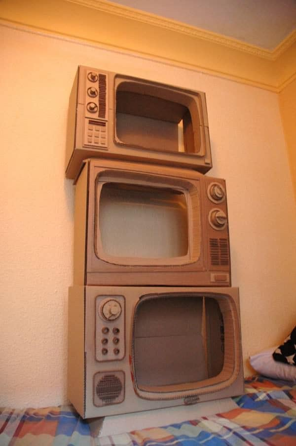Cardboard Sculptures are created to imitate objects - in this case, they're shaped like TVs!