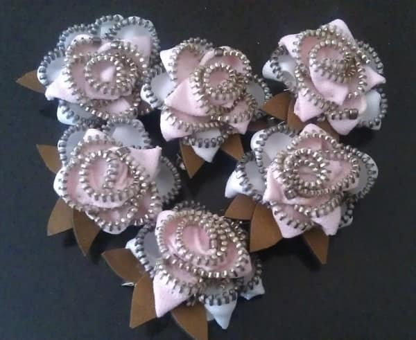 Upcycled Zipper Brooches for Breast Cancer Awareness Accessories