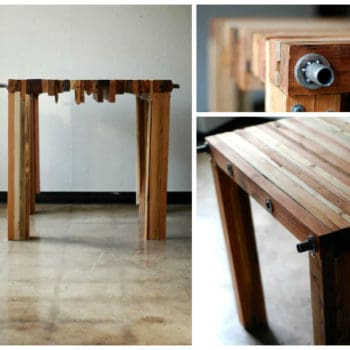 Diy wood log into pendant table recyclart for Table basse verre metal