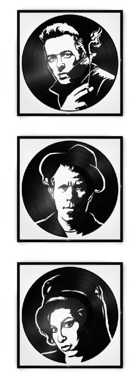 Repurposed Vinyl Turned into Portraits of Iconic Musicians