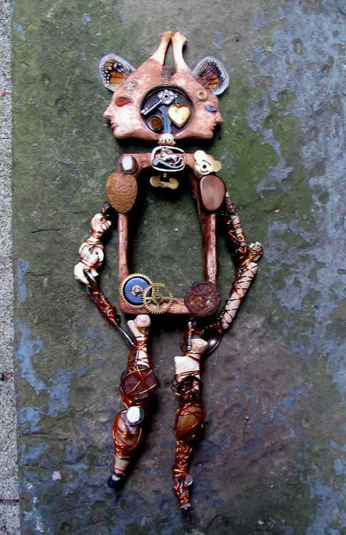 Janus Headed Puppet Recycled Art