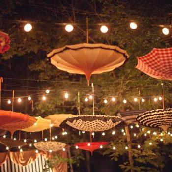 Upside down umbrellas as decoration !