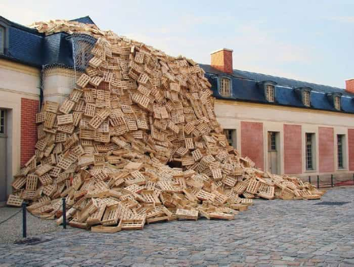 Crates Avalanche in Versailles by Tadashi Kawamata Interactive, Happening & Street Art Recycled Art Wood & Organic