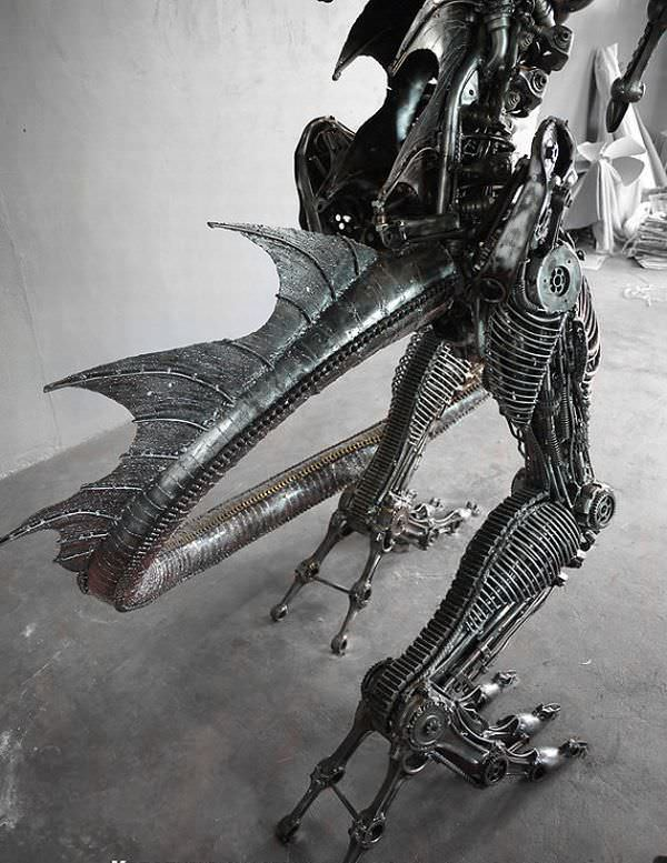 Giant Steampunk Dragon Made From Recycled Car Parts Mechanic & Friends Recycled Art Recycling Metal