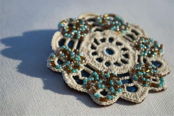 Vintage Crochet Doily Brooch Accessories Clothing
