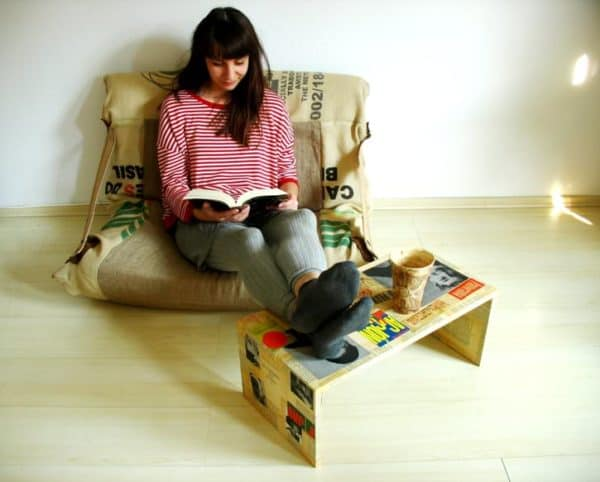 Armchair Made from Jute Bags Clothing Recycled Furniture