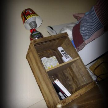 Bedside table with old apple crate