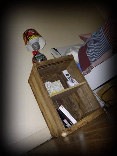 Bedside Table with Old Apple Crate Recycled Furniture Wood & Organic