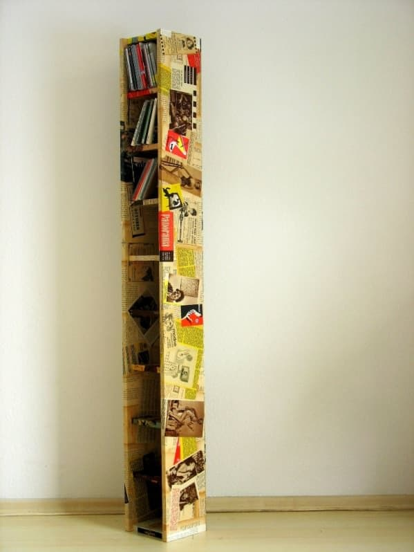 Shelf for Cd Decorated with Old Newspapers Recycled Furniture