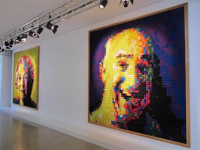 Fabric Pixel Portraits Clothing Recycled Art