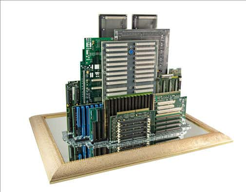 Computer Parts Skylines Recycled Art Recycled Electronic Waste