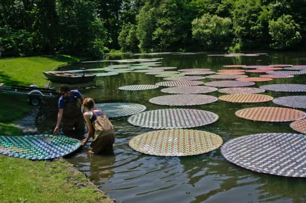Upcycled Cds: Water Lilies Recycled Electronic Waste