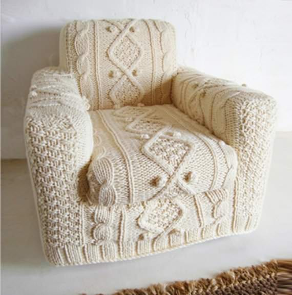 Diy : Hand Knitted Armchair Slip Cover Clothing Recycled Furniture