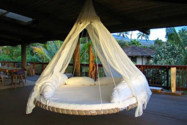 Reused Trampoline into Swinging Bed Recycled Furniture