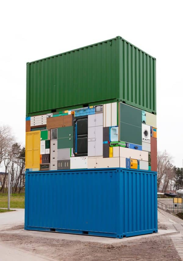 The Move Overseas: Containers & Households Items Sculpture Recycled Art