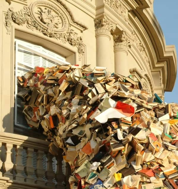 'cascading Books' Installations Recycling Paper & Books