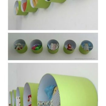 Shelves made with paint bucket