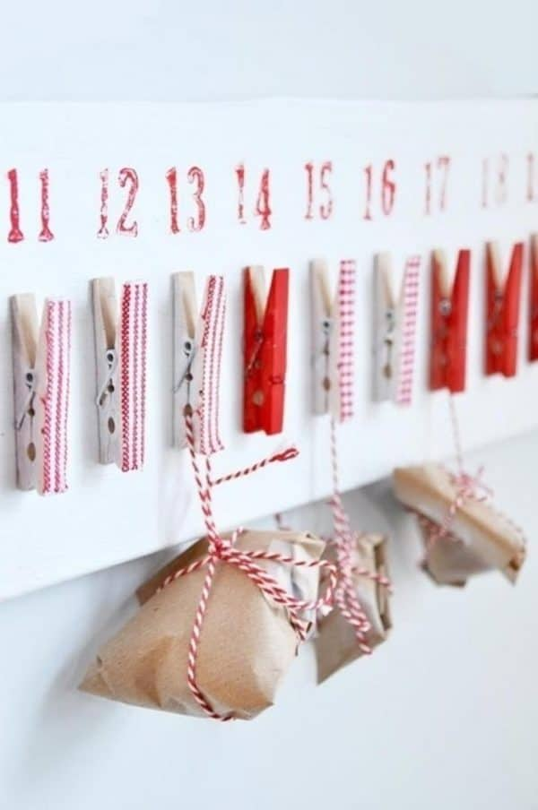 Clothespins Advent Calendar Do-It-Yourself Ideas
