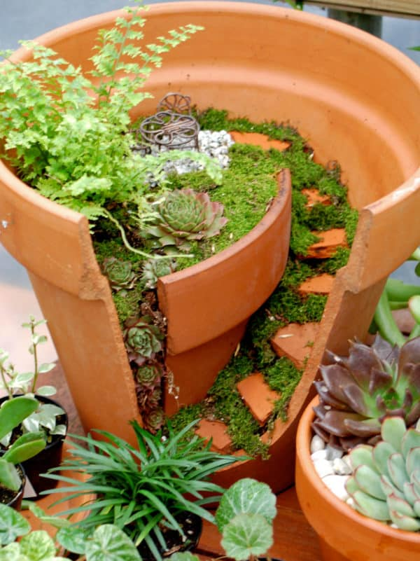 Broken Clay Pot Into Mini Garden Do-It-Yourself Ideas