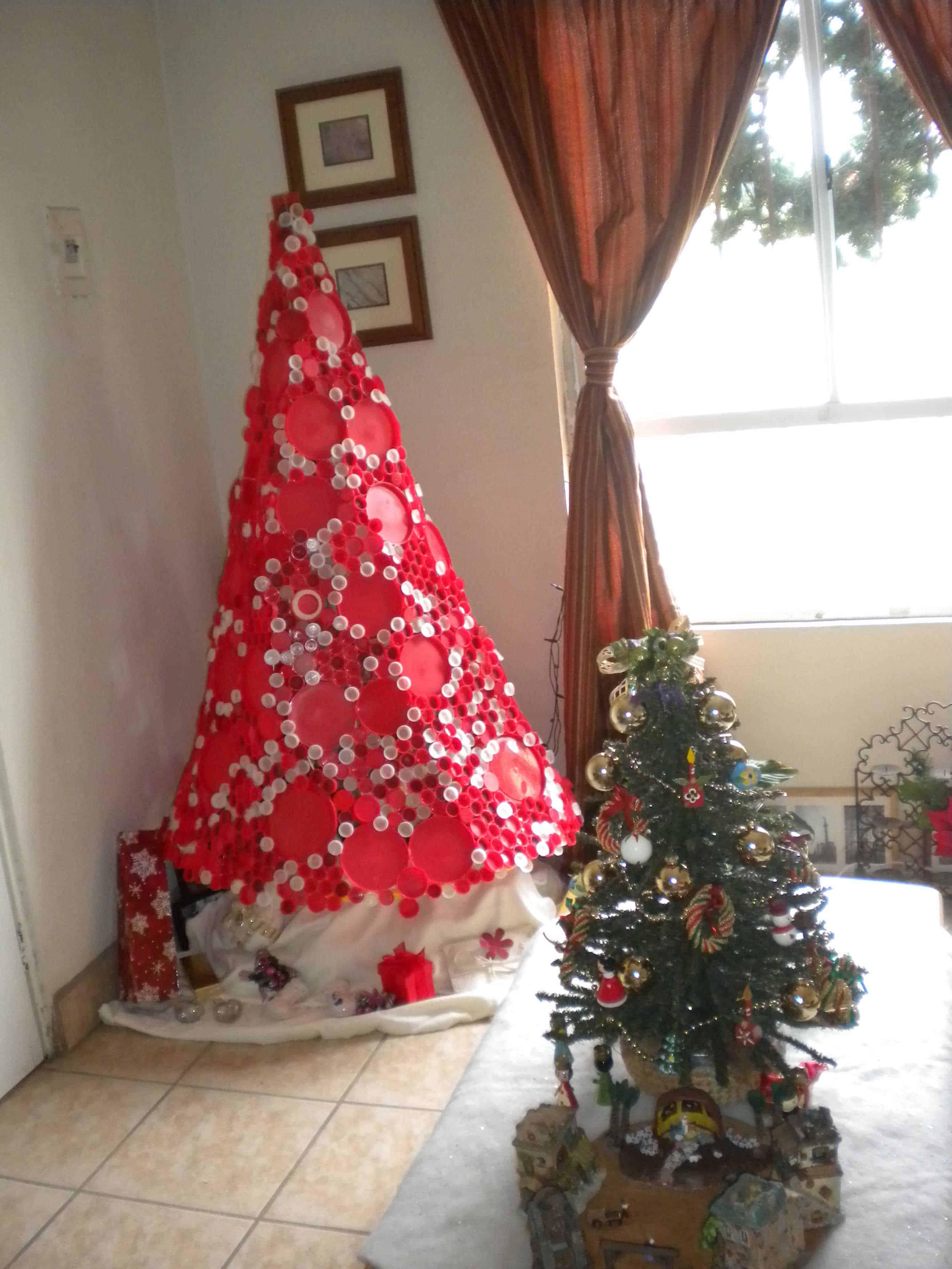 Plastic bottle caps christmas tree recyclart