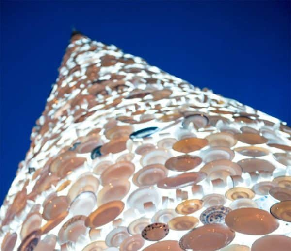 Christmas Tree Made Of 5,000 Donated Ceramic Dishes & Cups Interactive, Happening & Street Art Recycled Glass