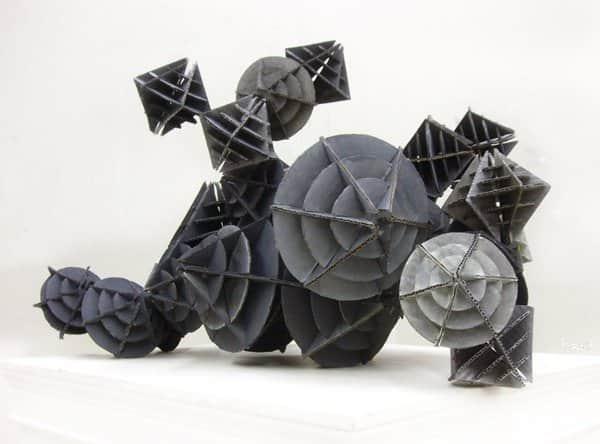 Interlocking Cardboard Sculpture Faux Metal Machine Recycled Art Recycled Cardboard