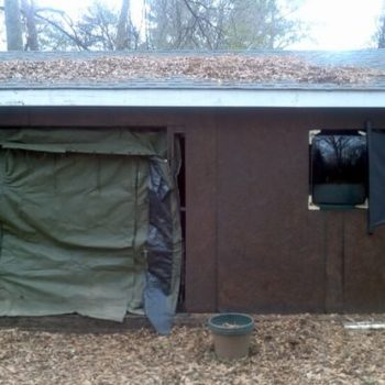 Military tent door & TV tube / glass front window