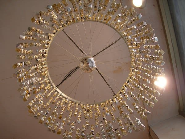 Chandelier Made of 60 Repurposed Coffee Bags Lamps & Lights Recycled Packaging Upcycled Bicycle Parts