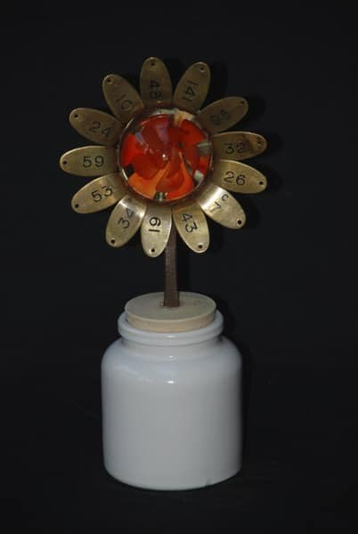 Orange Glass Flower Recycled Art