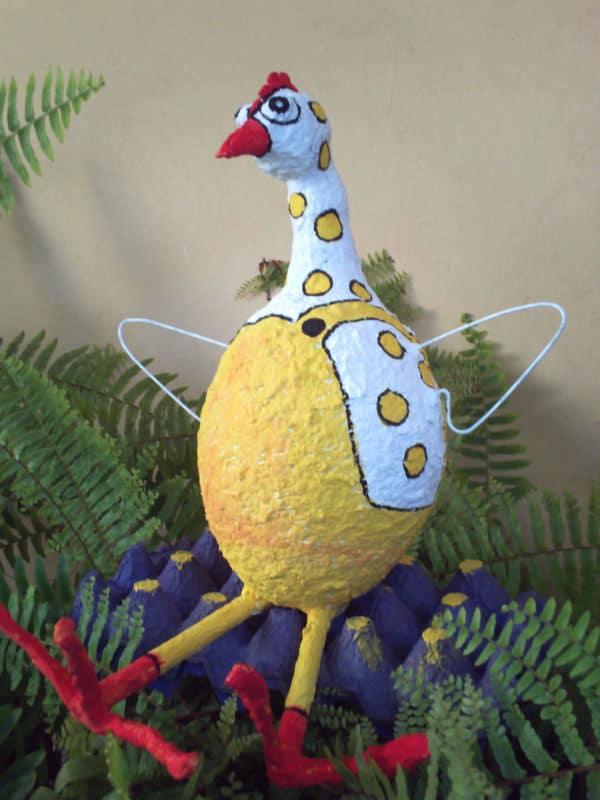 Paper Mache Chiken Recycled Art