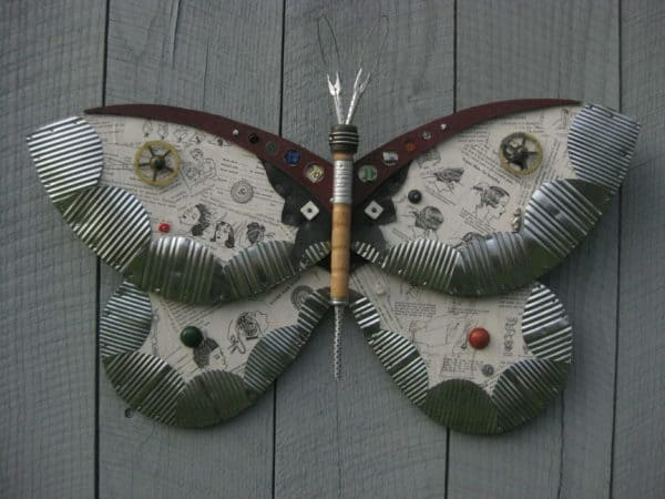 Found Object Moths And Butterflies Recycled Art