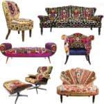 Colored Upholstered Vintage Furniture