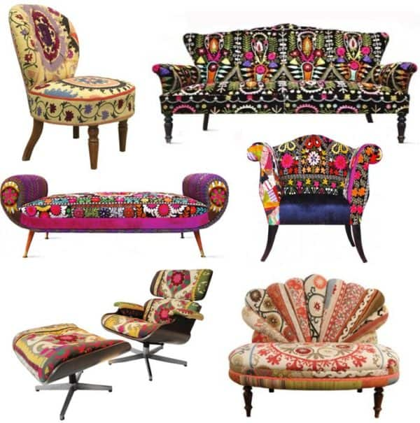Colored Upholstered Vintage Furniture Recyclart