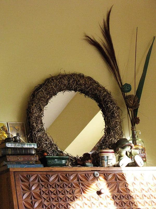 Upcycled Straw Mirror Accessories Wood & Organic