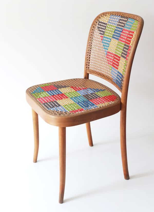 Cross Stitch Chair Clothing Recycled Furniture
