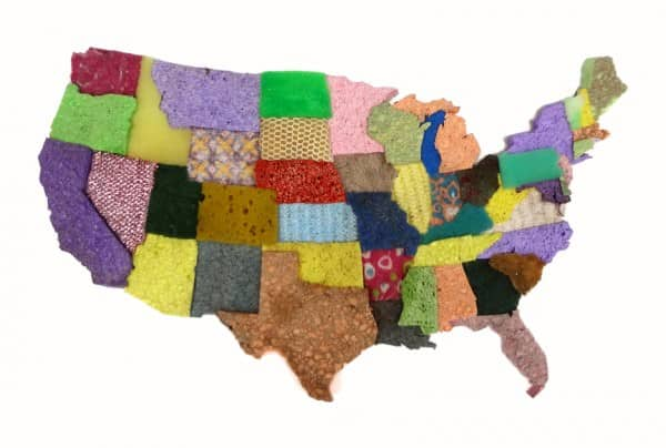 Usa Map From Used Sponge Assemblage Recycled Art