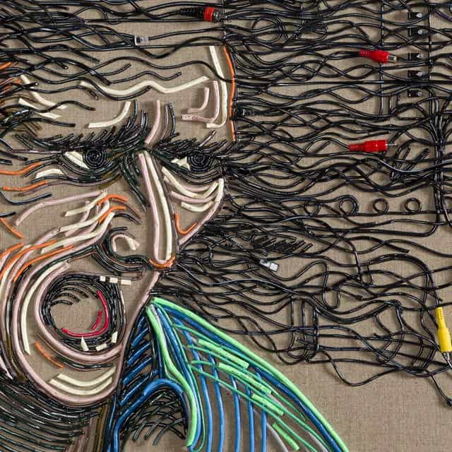 Federico Uribe Paints with Reused Electrical Cables