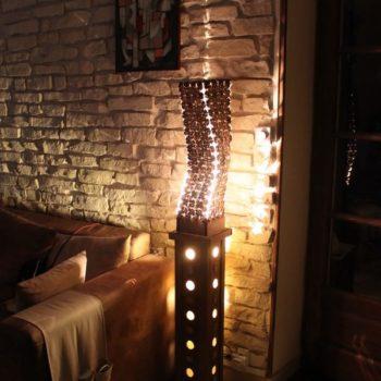 La Jambière : coffee caps and cardboard lamp