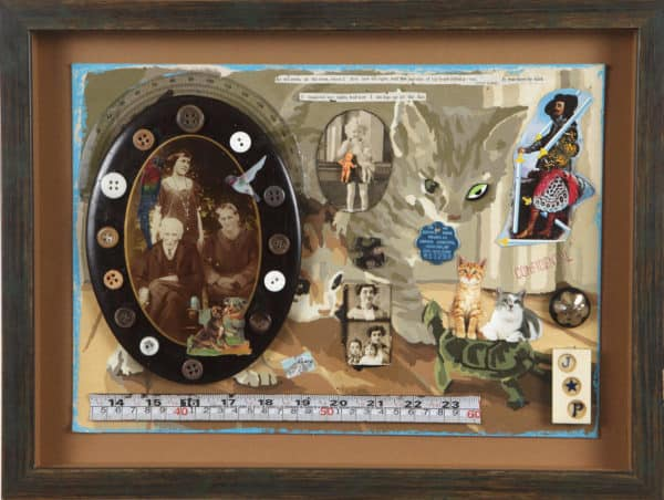 Collage Assemblages with Found Objects Recycled Art