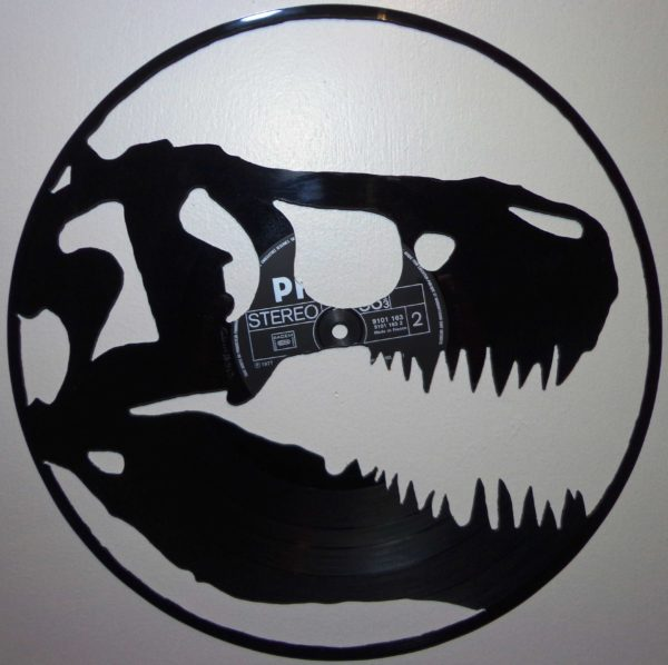 Vinyl Record Art like this T-Rex cut-out from a vinyl record will make 'em run.