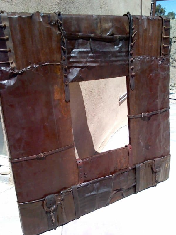 Rusted Leather Mirror Frame • Recyclart