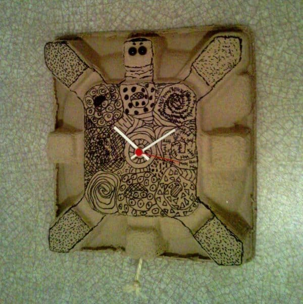 Cardboard Turtle Clock Accessories Recycled Cardboard