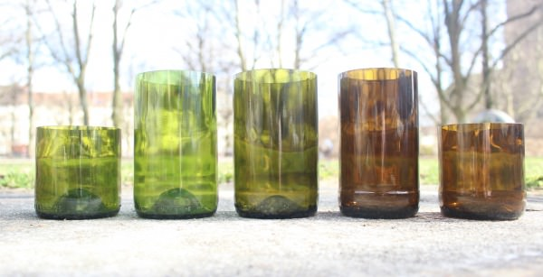 Beer and Wine Bottles Transformed into Glassware Recycled Glass